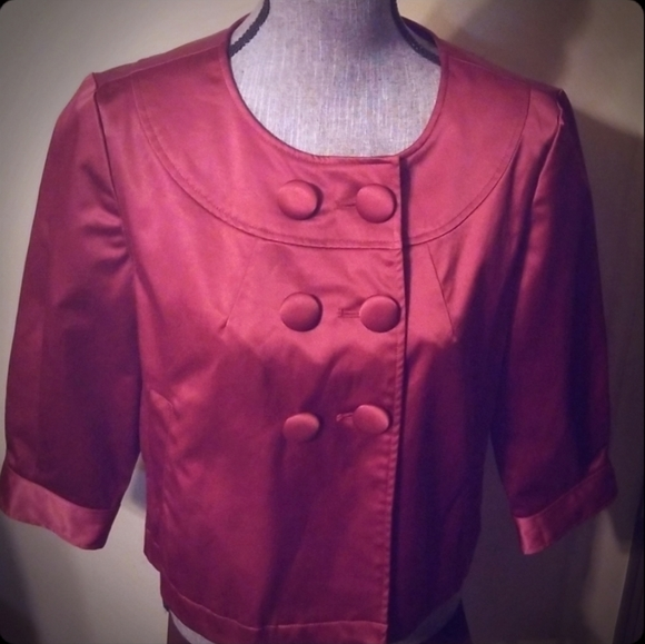 Like New Shiny Red Cropped Blazer Top